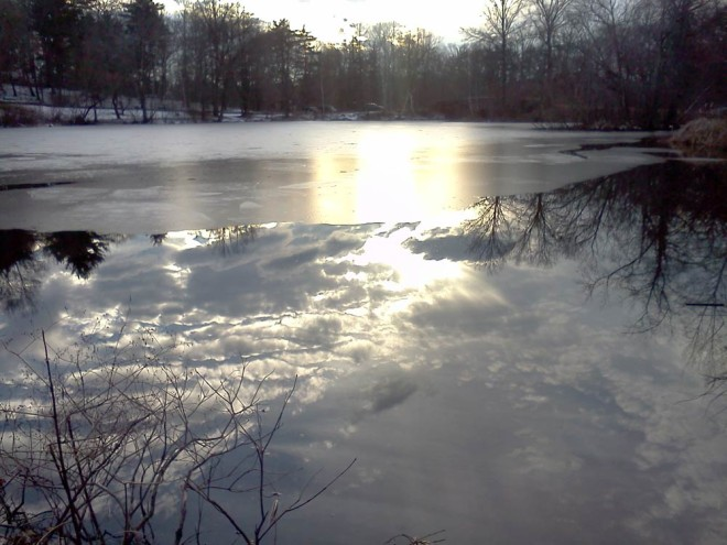 Scarborough Pond in winter. January 2013.