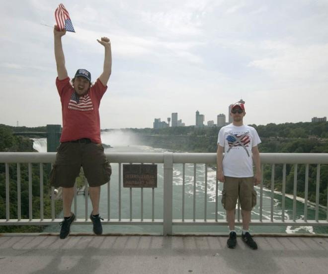 On the Rainbow Bridge, where the U.S. meets Canada.