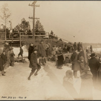 A 1923 view of the toboggan run on Schoolmaster Hill. Via the Boston Public Library's Flicker stream.