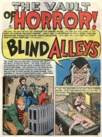 "The opening panel of the horror comic story ""Blind Alleys"" from 1954"