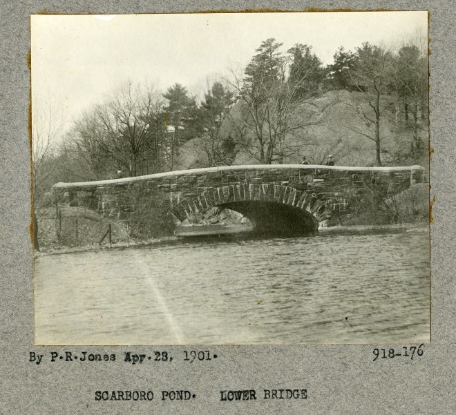 View of the Carriage Bridge, looking west with the Rock Morton in the background.